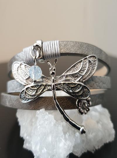 Grey Dragonfly Snap Bracelet