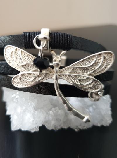 Black Dragonfly Snap Bracelet