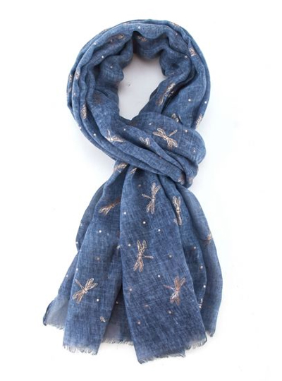 Rose Gold Dragonfly Scarf - Blue