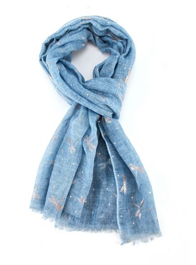 Rose Gold Dragonfly Scarf - Light Blue