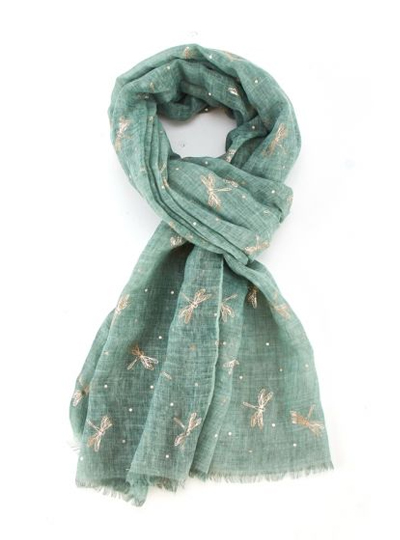 Rose Gold Dragonfly Scarf - Green