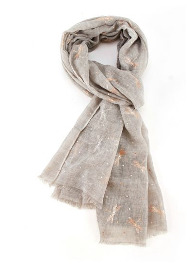 Rose Gold Dragonfly Scarf - Grey