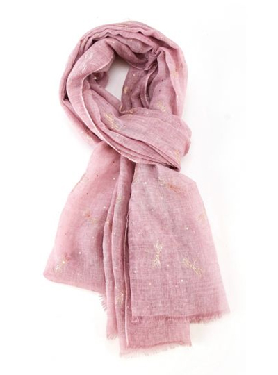 Rose Gold Dragonfly Scarf - Light Pink
