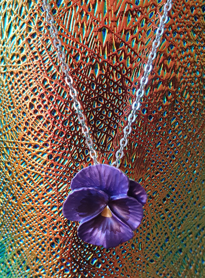 Faith in Nature - Purple Pansy Necklace
