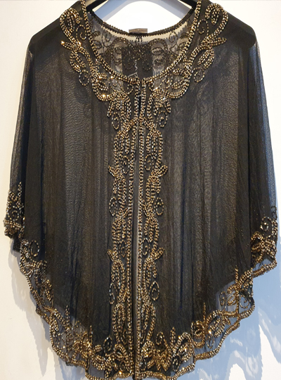 The Glitzy Cape - Black with Gold Beading