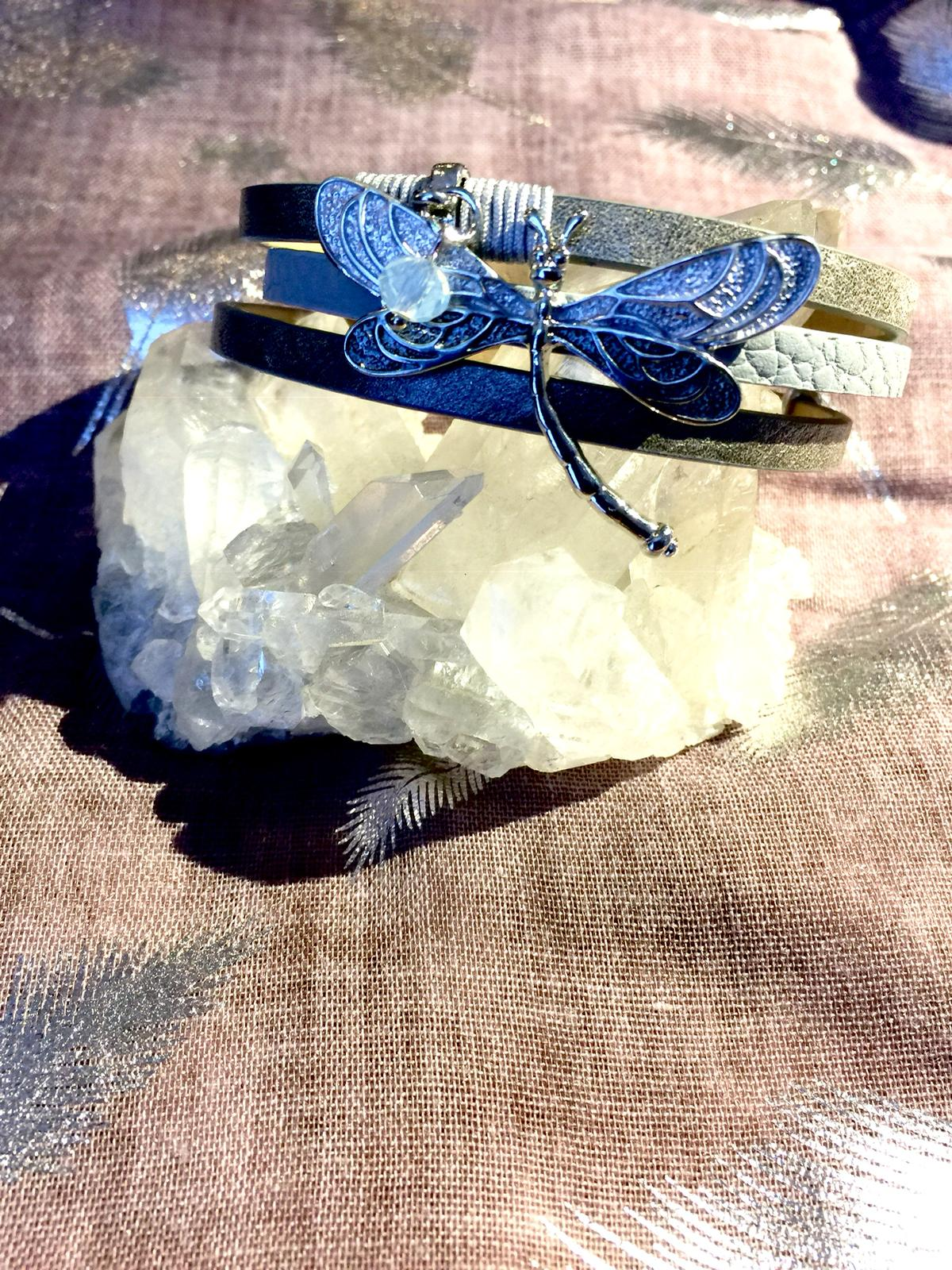Blue Dragonfly Snap Bracelet