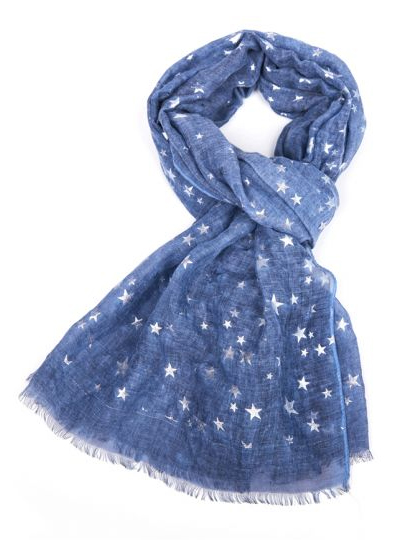 Silver Stars Scarf - Dark Blue