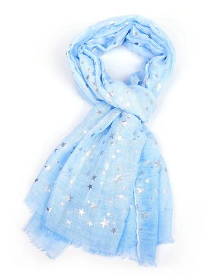 Silver Stars Scarf - Sky Blue