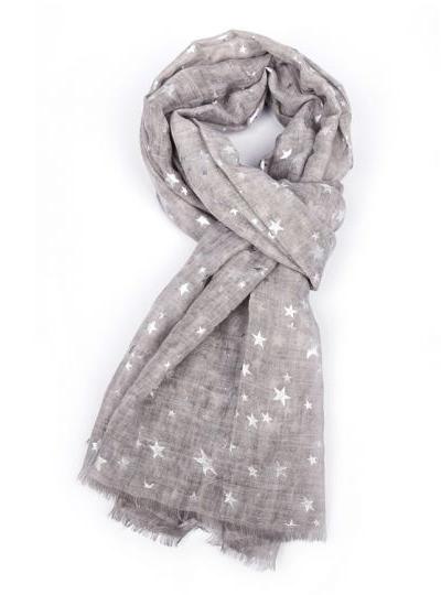 Silver Stars Scarf - Grey