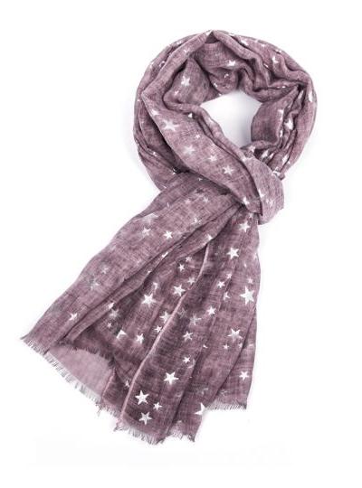 Silver Stars Scarf - Purple