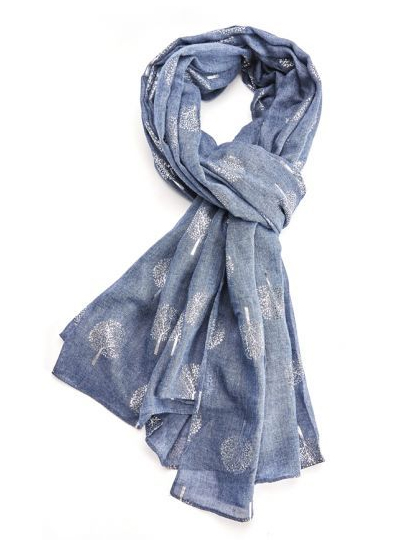 Foil Trees Scarf - Navy