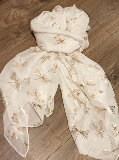 Rose Gold Dragonfly Scarf- White